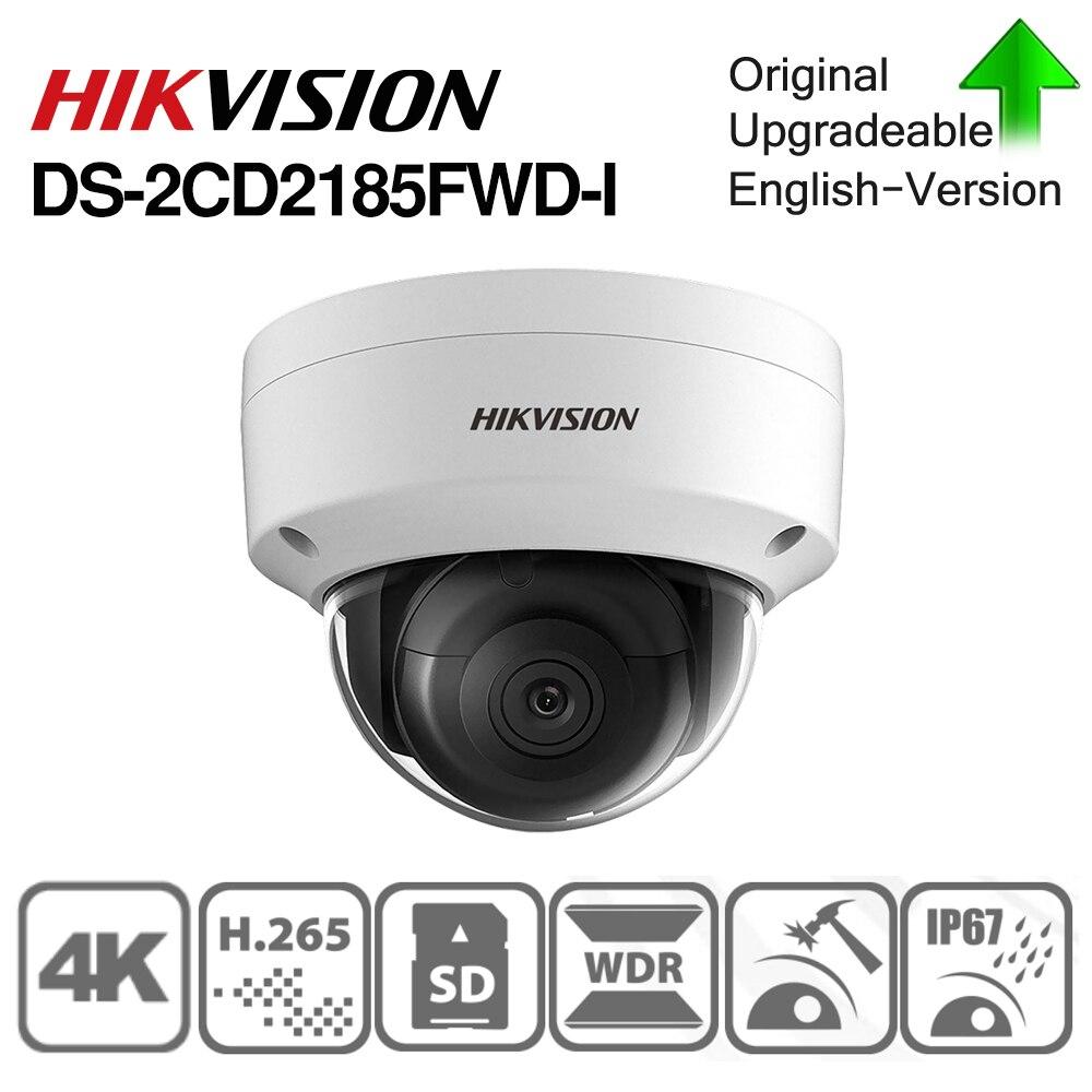 Hikvision câmera ip original DS-2CD2185FWD-I 8mp rede dome poe câmera ip h.265 cctv câmera sd slot para cartão ik10 ip67