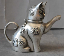 decoration bronze factory outlets Tibet Silver  old chinese silver lucky rich Cat wealth Pussy statue Wine Tea Pot Flagon
