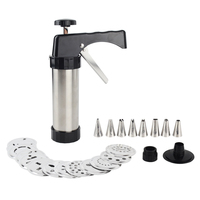 Cookie Press Kit Gun Machine Cookie Making Cake Decoration 13 Press Molds & 8 Pastry Piping Nozzles Cookie Tool Biscuit Maker
