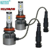 OkeyTech 2PCS Lot Car Headlight Bulbs H11 H8 H9 80W 9000LM 6000K Auto LED Headlamp Front