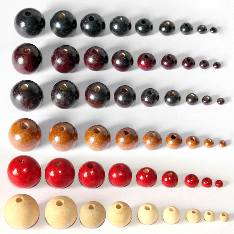 100Pcs lot Black Red Natural Color Round Wood Beads Handmade Wooden Loose Bead for Necklace Bracelet
