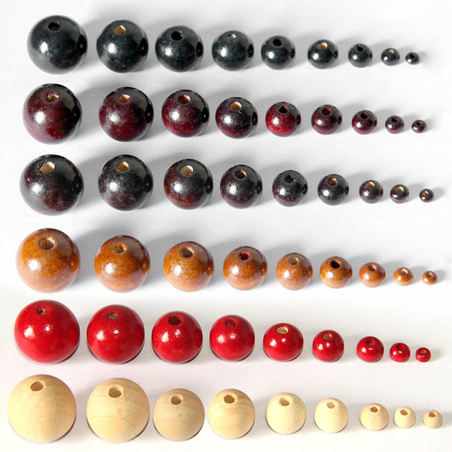 100Pcs/lot Black Red Natural Color Round Wood Beads Handmade Wooden Loose Bead f