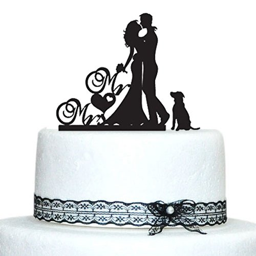 wedding cake topper silhouette with dogs wedding cake toppers with and groom silhouette 26501