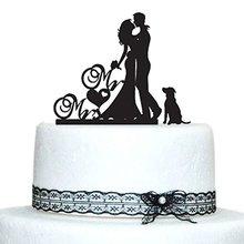 Свадебный Торт Топперы с собакой Жених и невеста силуэт мистер и миссис Топпер пара торт Акриловые Пользовательские Свадебные украшения Mariage