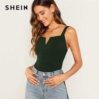 Шеин V-Notch толстый ремень эластичный Топ 3 цвета Простой ребристый трикотаж простой Slim Fit Танк для женщин Летняя Вечеринка Highstreet 2019 жилеты