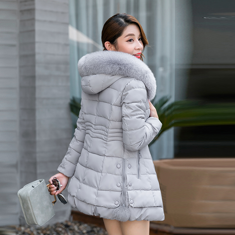 The new winter coat, down long cotton padded jacket size Korean slim female thick cotton padded jacket tide long coat womens jacket new printing was thin down cotton padded thick coat windbreaker
