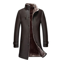 Plus size 5XL Men's Single breasted Long Trench Coat Leather Winter Warm Fur Lining Jackets Outerwear Parka