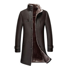 Plus size 5XL Men's Single-breasted Long Trench Coat Leather Winter Warm Fur Lining Jackets Outerwear Parka