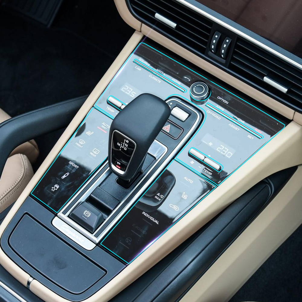 Interior de coche de panel de caja de cambios Protector de pantalla transparente película protectora pegatina para Porsche Cayenne 2018 2019 Accesorios