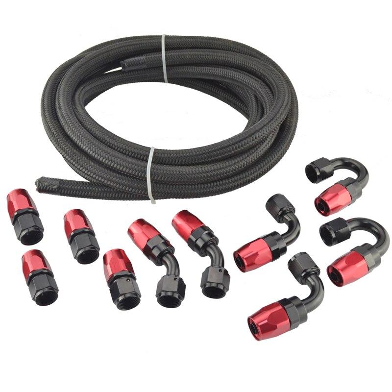 5 M AN8 8AN Nylon & inox tressé huile/carburant/tuyau d'eau + droit/45/90/180 degrés raccord pivotant tuyau d'huile embout adaptateur Kit noir