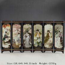 Китай лакированные изделия старая Ручная Красивая роспись коллекционные вещи красота хороший складной экран украшения подарок