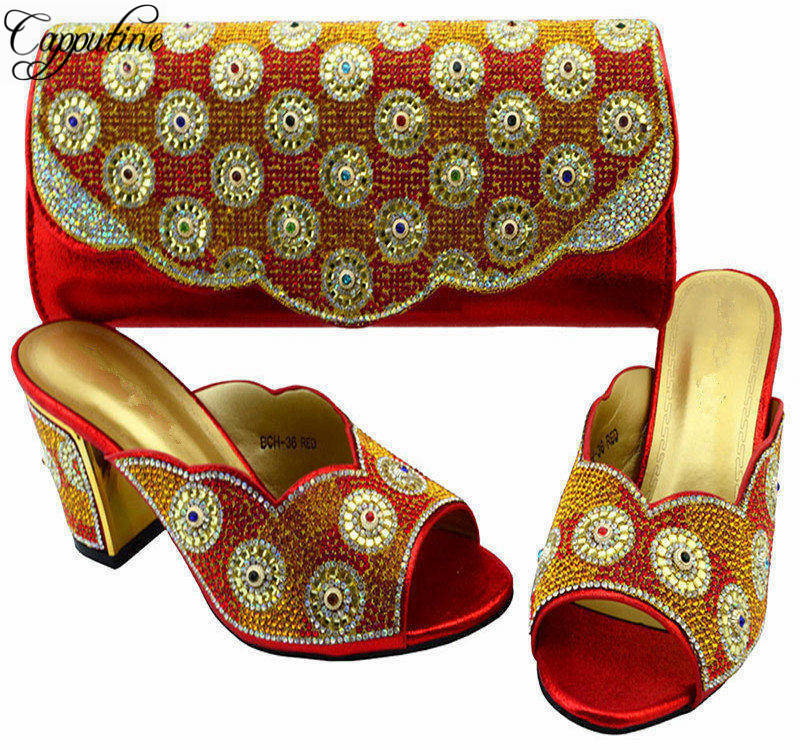 Capputine Charming Italian Shoes With Matching Bags High Quality African Rhinestones Shoes And Bags Set For Wedding BCH-36 capputine new arrival fashion shoes and bag set high quality italian style woman high heels shoes and bags set for wedding party