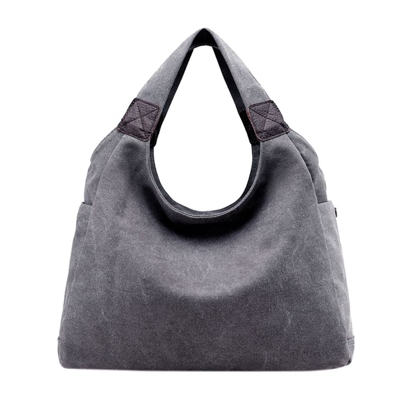 Women's Simple Style Vintage Canvas Totes Hobo Bag(Gray)