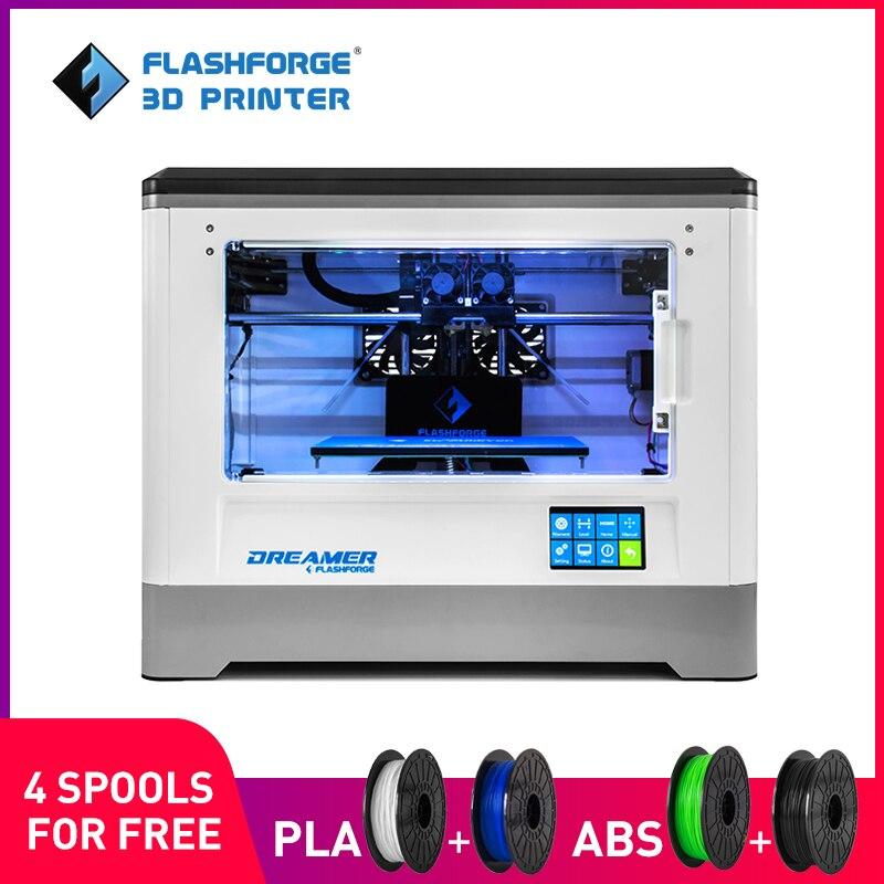 Flashforge 3D принтер Мечтатель Wi-Fi и сенсорный экран с сертификатом CE FCC двойной экструдер полностью Закрытая камера ж / 2 бесплатно золотник