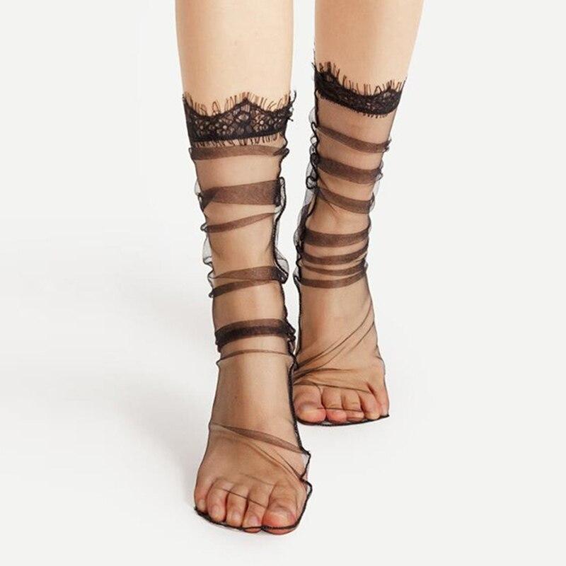 Hot Sexy Lace Mesh Fishnet Socks Black Transparent Stretch Elasticity Fiber Ankle Socks Women Ultra-thin Cool Socks Streetwear