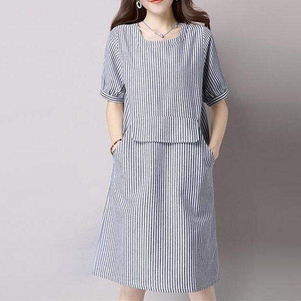 27e4fdfc2 Nuevo verano Mori chica Vestidos manga corta rayas de algodón y lino  vestido suelto estilo de muy buen gusto de la rodilla mujeres Vestidos en  Vestidos de ...