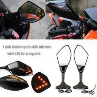 Mooreaxe Motorcycle LED Turn Signal Arrow Mirrors Side Mirrors For Suzuki GSXR 600 1000 1100 GSX 1300R Hayabusa SV650S SV1000S