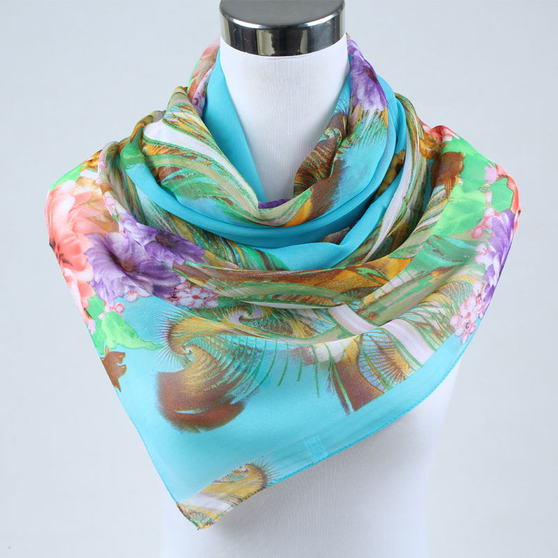 2018 new arrival Autumn and Winter fashion casual women scarf print polyester chiffon silk scarf womens apparel accesories 002