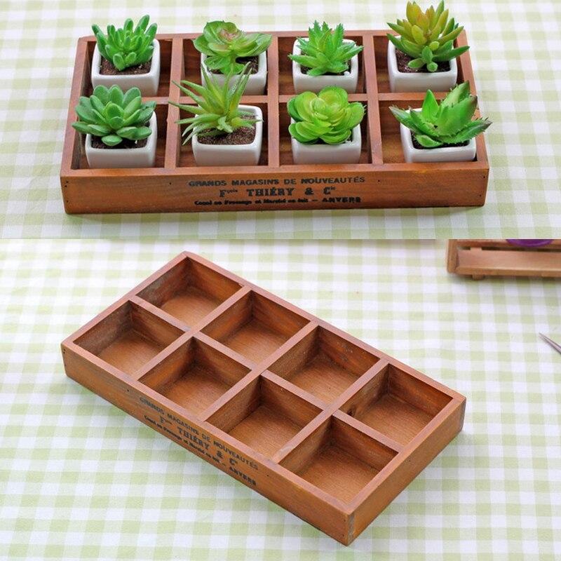 9,5 x 9,5 x 5 cm Organizador de escritorio Tama/ño mini Caja de madera Caja de almacenaje de Bigboba Caja para macetas con plantas suculentas