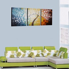 Lucky Tree 100% Hand Painted Canvas Oil Painting 3 Panels Stretched and Framed Flower Wall Art Home Living Room Decor to Hang