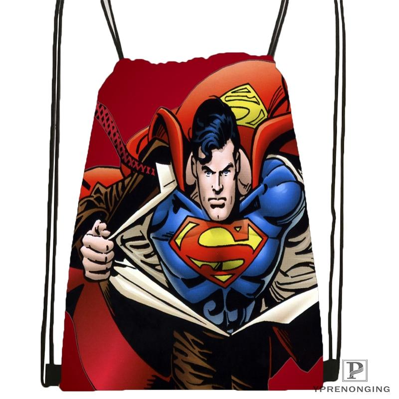Custom Superman 24 Drawstring Backpack Bag Cute Daypack Kids Satchel (Black Back) 31x40cm#180531-04-13