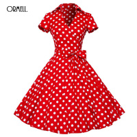 ORMELL 2017 Summer Print Dress Casual Dresses For Women Vintage Ladies Red Black Dots Short Sleeve