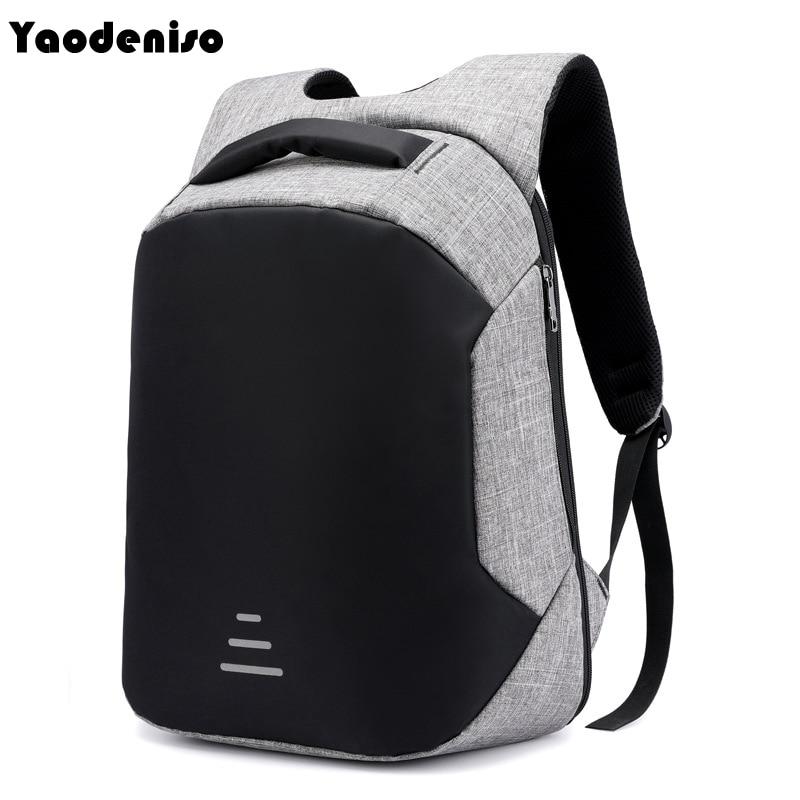 Yaodeniso Men 15.6 Laptop Backpack Anti Theft Backpack Usb Charging Men School Notebook Bag Oxford Waterproof Travel Backpack