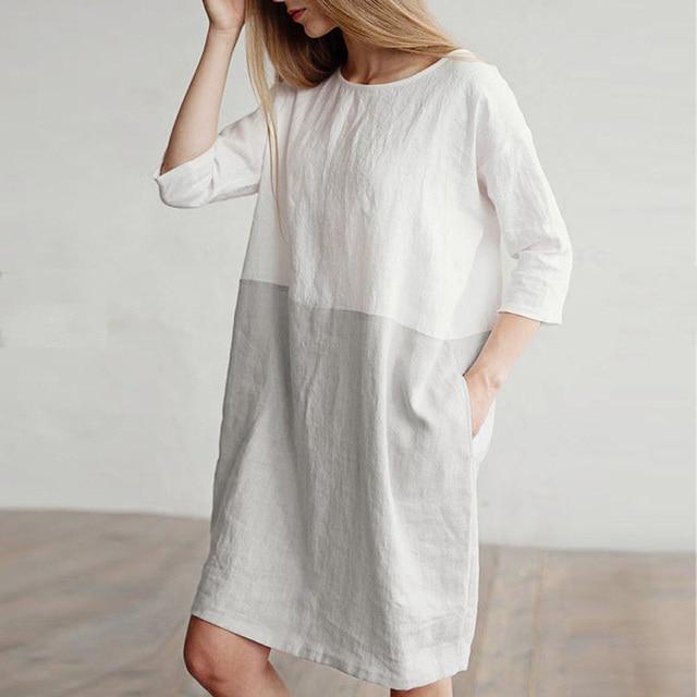 3ec21110a59 2018 Women Casual Cotton Linen Dress Patchwork 3 4 Sleeve O neck Ladies  Loose Oversized Pockets Tunic Shift Dress
