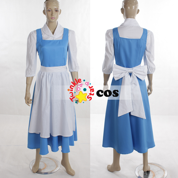 aliexpresscom buy halloween costumes for women adult princess village belle beauty and the beast cosplay costumesshirtblue dresscloakapronbow from