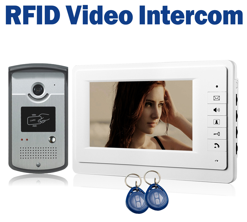 7 LCD Wired Video Door Phone Intercom + CMOS Night Vision Camera with RFID Door Access Control System 125khz rfid card access control video door phone system wired 7 inch color screen video door bell with rfid card reader