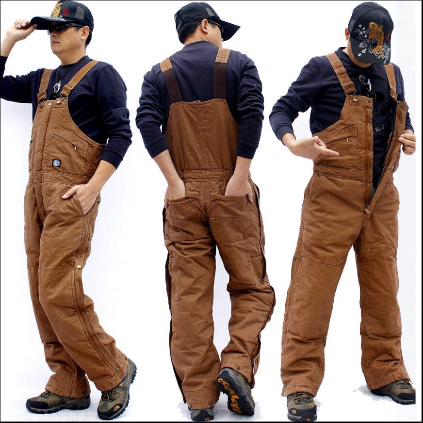 M 3XL Men's Canvas thickened one piece cotton bib pants uniforms wear resistant overalls warm loose large size work pants