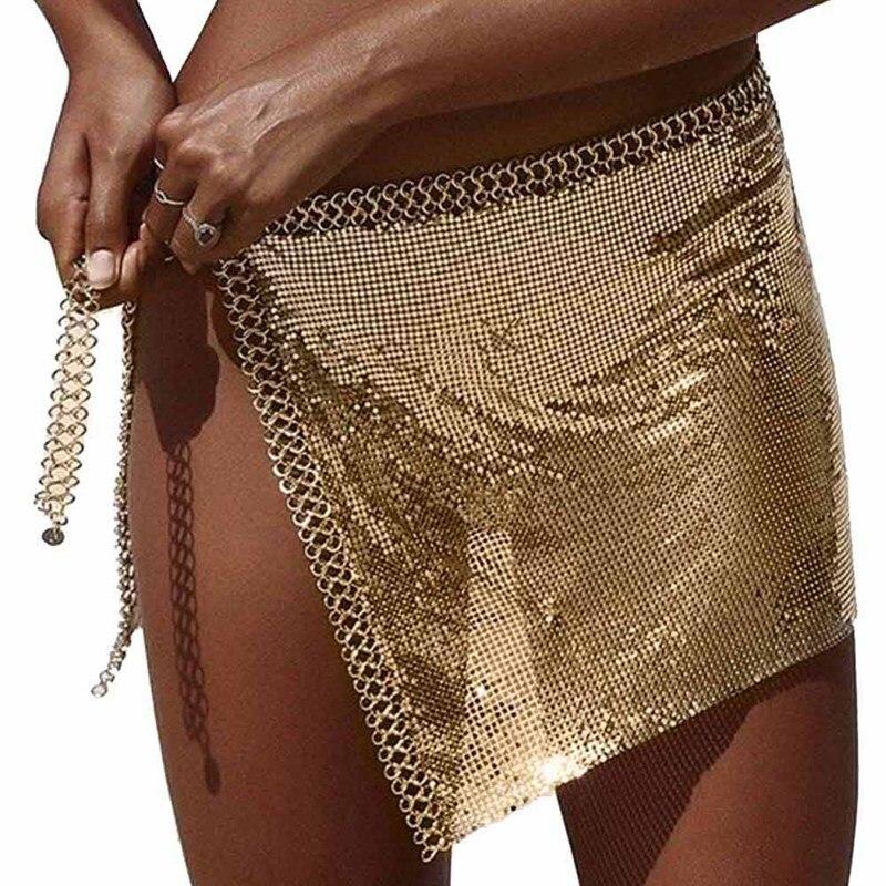 Sexy Rhinestone Sequin Skirts Women 2018 Metal Chain Split Mini Skirt  Summer Party Club Beach Skirt Bottom 1b8b66850a0d