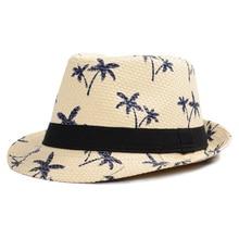 2018 nuevos sombreros de paja del verano hombres mujeres sombrero Panamá  sombreros impresión con Árbol de coco cubo sombreros Fe. 36bf8e188f4