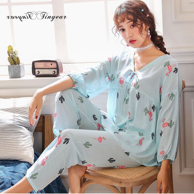 Tinyear 2019 New Pajamas for Woman Leisure Time Ma'am Home Furnishing clothes Girl Casual short sleeved sleepwear 4 colors