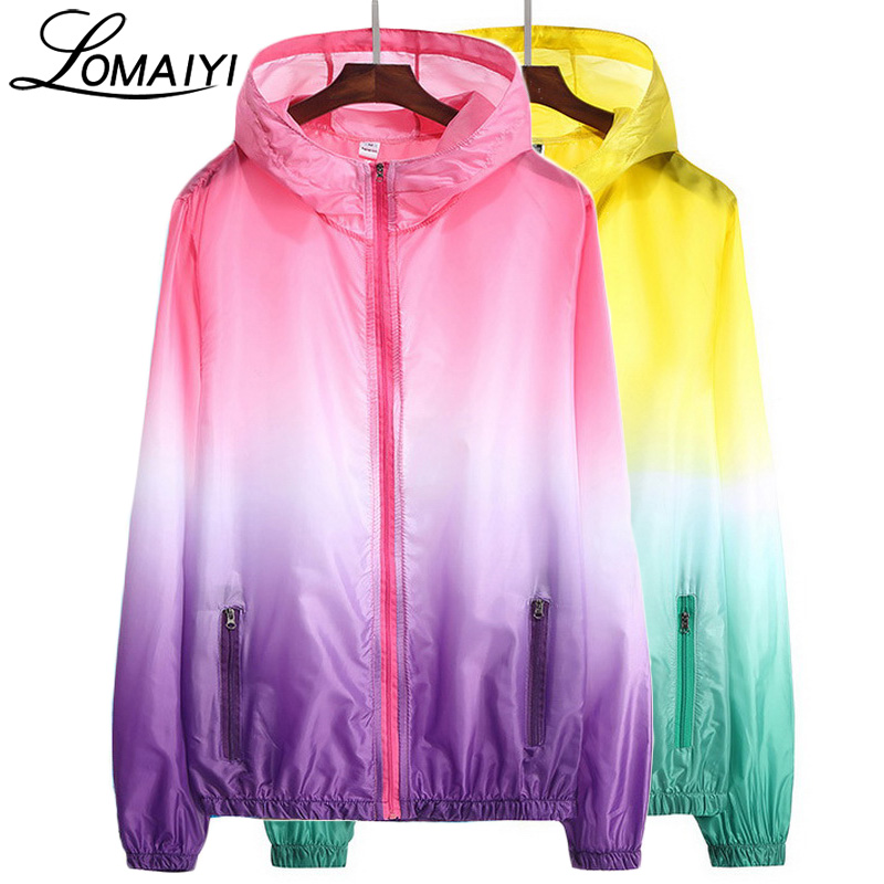 LOMAIYI Solbeskyttende Ultra Thin Summer Jacket Menn Kvinner Basic Coats Light Vanntette Jakker Female Veste Windbreaker, AW073