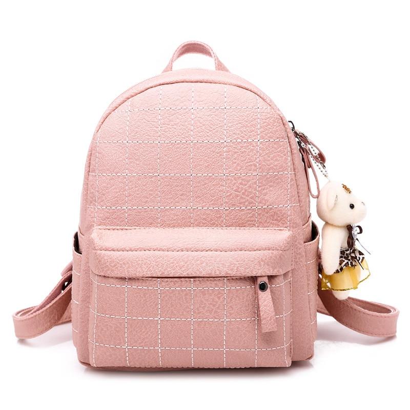 Fashion Plaid Women Backpack small PU Leather School Bag For Teenage Girls Pink Backpacks female Shoulder Bags Threat mochilaFashion Plaid Women Backpack small PU Leather School Bag For Teenage Girls Pink Backpacks female Shoulder Bags Threat mochila