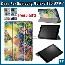 Cubierta case para samsung galaxy tab s3 9.7 slim stand pu case para Tab S3 T820 T825 cubierta Protectora + Protector de Pantalla + touch pluma