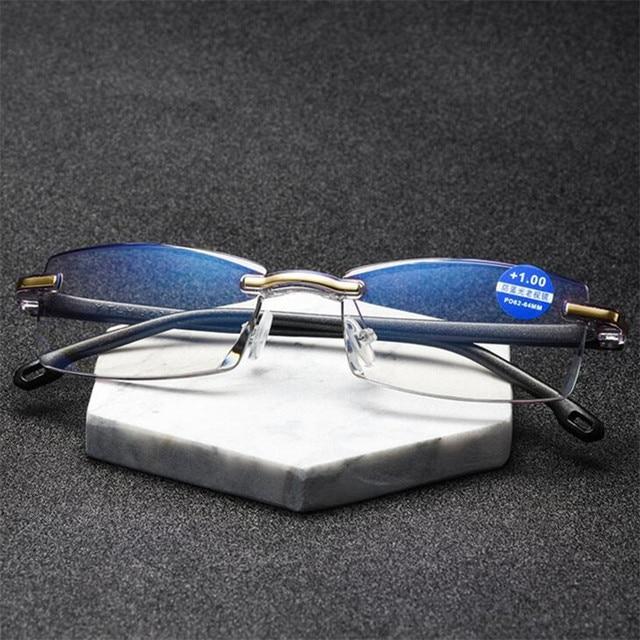 NYWOOH Anti Blue Light Reading Glasses Women Men Rimless Hyperopia Eyeglasses Computer Eyewear Presbyopia Reader Glasses
