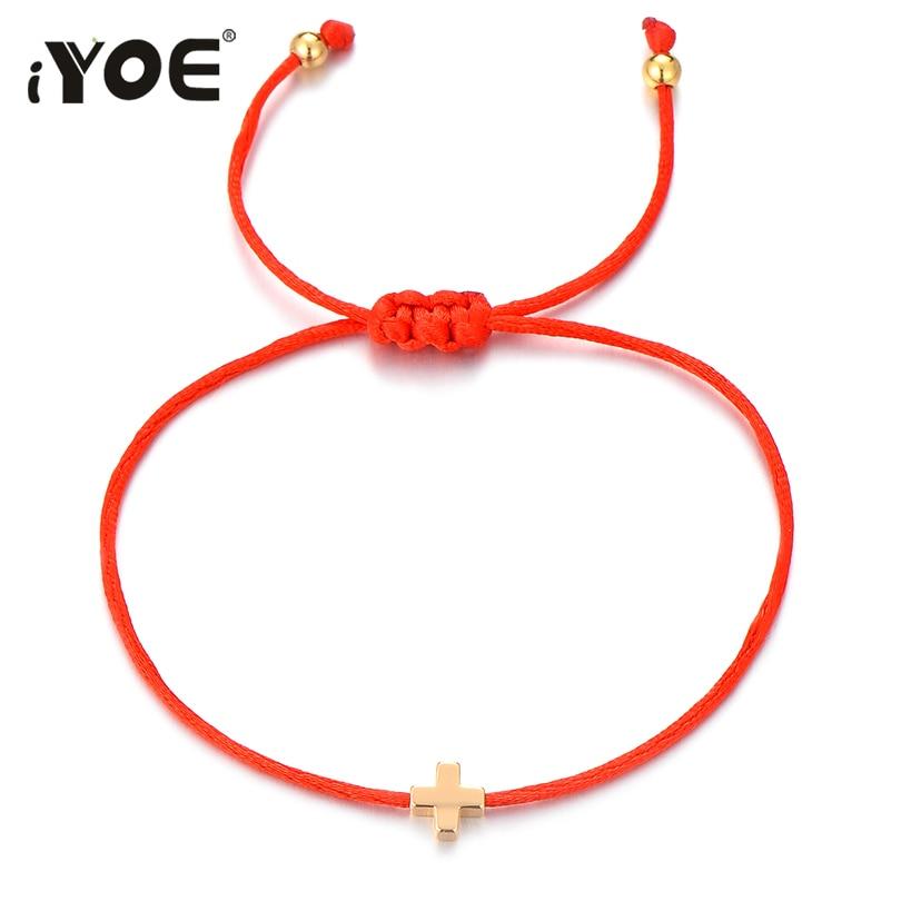 IYOE винтажные браслеты золотого цвета с крестообразной подвеской для мужчин и женщин, красная веревка ручной работы, удача, браслет, подарок ...