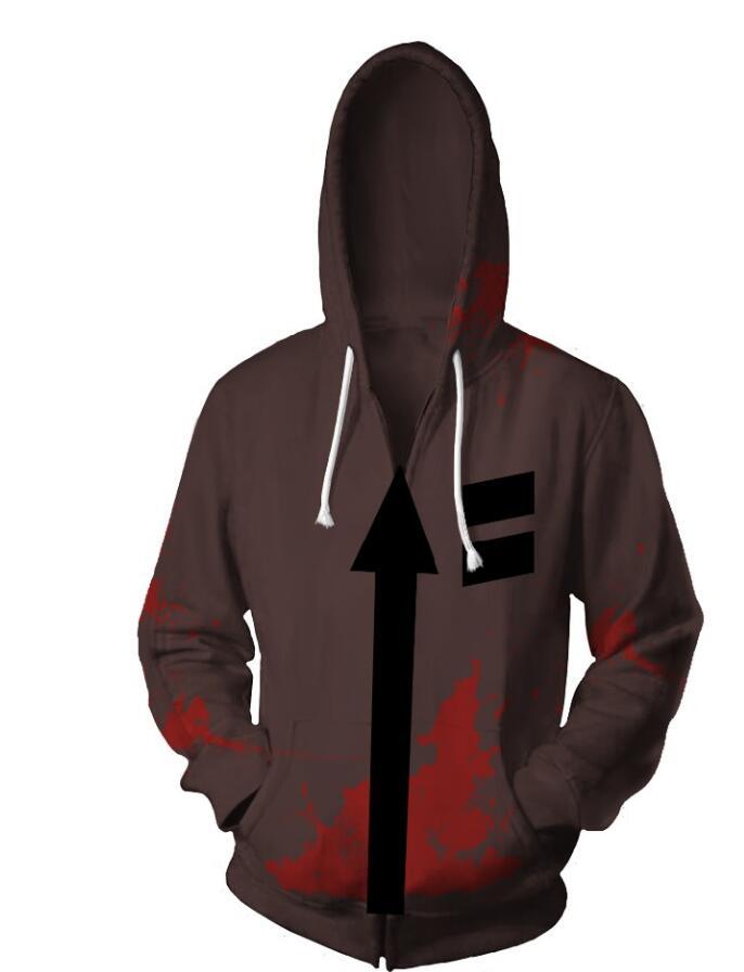 Jeu anges de la mort Cosplay Costumes Zipper Hoodies Sweatshirts 3D imprimé veste manteau zack punk veste