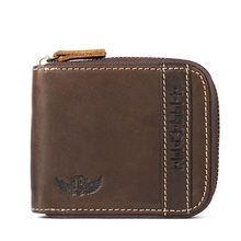 Ruil Top quality Fashion Crazy Horse Genuine Leather Men Purse Wallet coin pocket purse card Wrist Bag Pockets With Zipper(China)