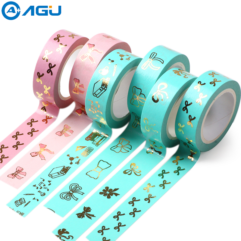 AAGU Bowknot Washi Tape Scrapbooking Masking Tape Japanese Paper Decorative Adhesive Tapes Rose Gold foil Washi Tape Christmas high quality gold foil 10m paper tape dot strip pineapple heart christmas decorative washi tape 1pcs