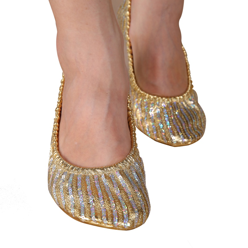 New Belly Dance Adult Women Professional Shoes Slippers Flat Heel Ballerina Leather Sole