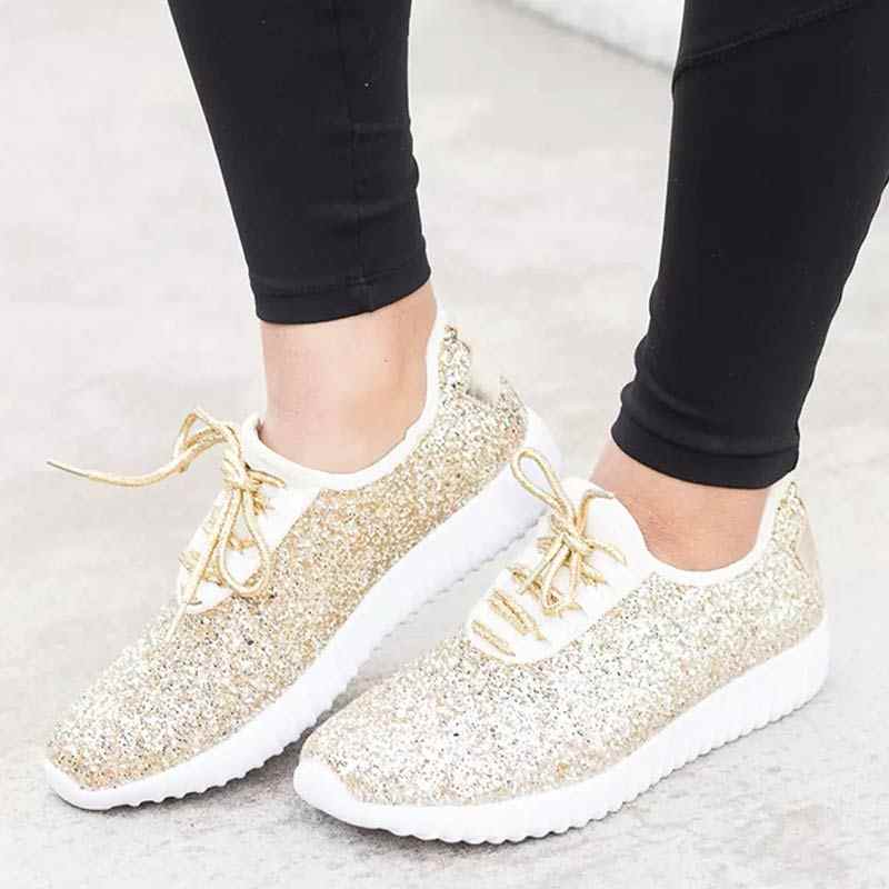 adc974b20af ... Silver Casual Shoes Woman Gold Glitter Sneakers Shoes Trainers Summer Women  Sparkly Shoes Lace Up Ladies ...