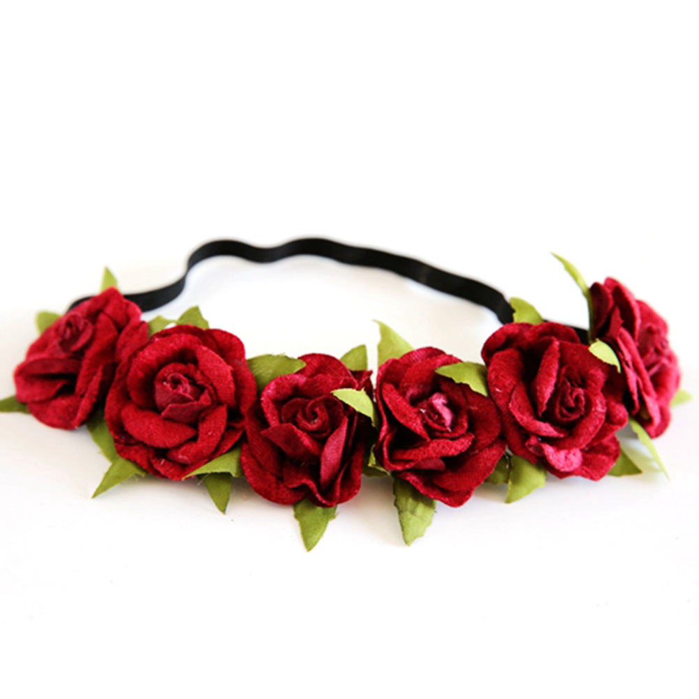 Efinny Beauty Rose Flower Crown Headband Wedding Elastic Red Floral