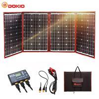 Dokio สีดำแผงพลังงานแสงอาทิตย์ 200 W (50 W x 4 pc) 18 V จีนพับได้ + 12 V แผงพลังงานแสงอาทิตย์แบตเตอรี่ Motorhome RV รถ