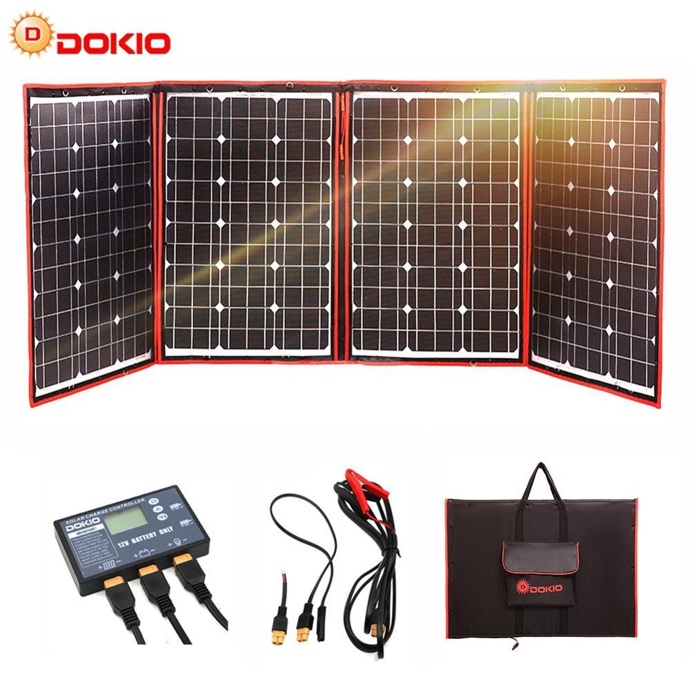 Paneles solares negros Dokio 200W (50W x 4 piezas) 18V China plegable + 12V paneles de controlador de carga de batería Solar autocaravana RV Coche