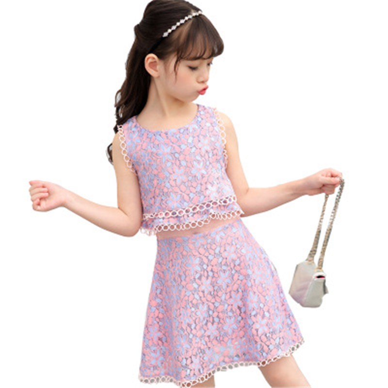 2018 teenage Summer Evening Party Dresses For Girls 3-13 Years Cute Children Clothing Pink Floral Lace Dress For Girls Kids