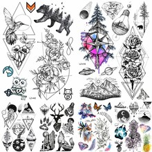 bb8d5a3ca WaterColor Compass Temporary Tattoo Stickers Flying Birds Waterproof Tattoo  For Women Body Art Arm Colored Flash Tatoo Leg Neck