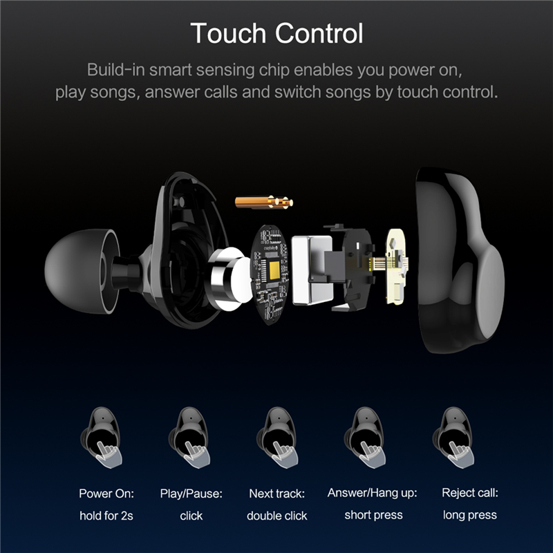 Bluetooth Touch Control Hifi Earphone with Mic, ROCKSPACE
